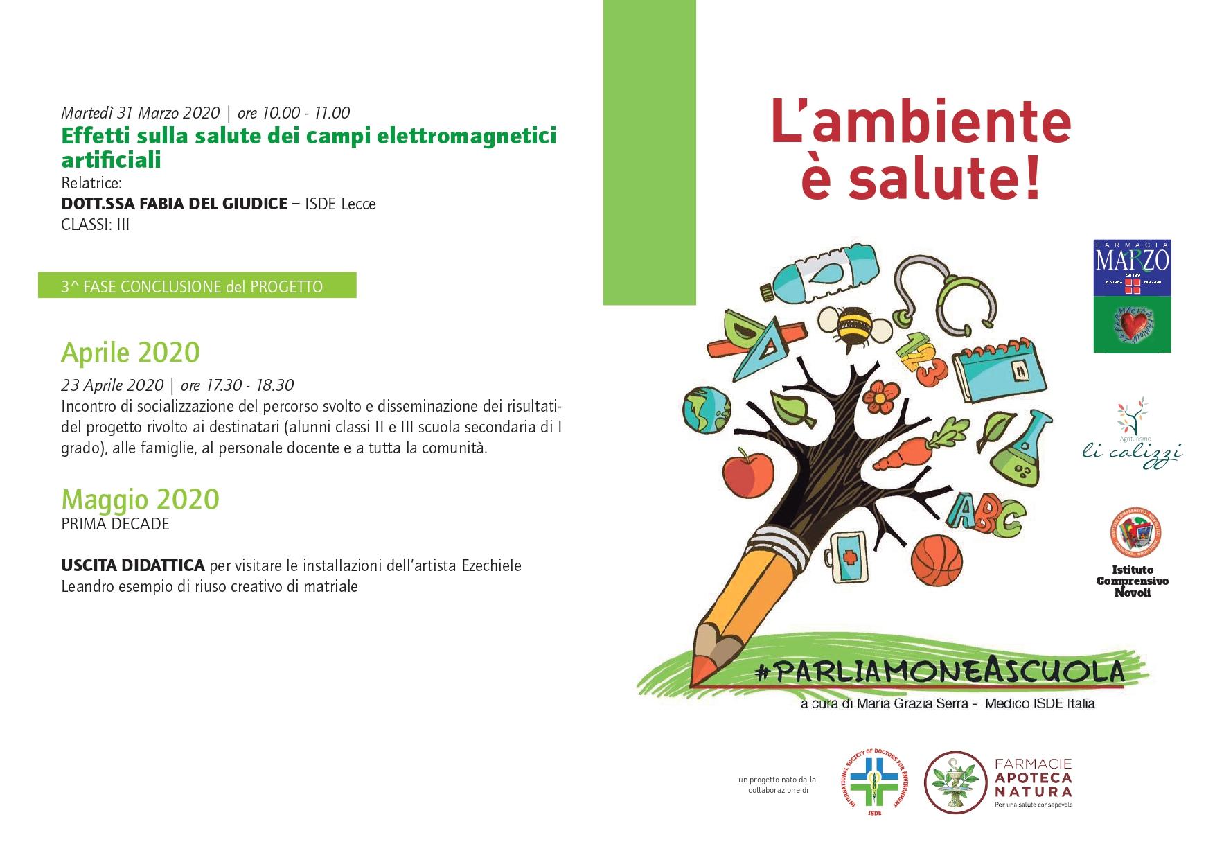 Progetto L Ambiente E Salute Avvio Attivita E Calendario Incontri A S 2019 2020 Istituto Comprensivo Novoli